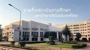 รายชื่อสถาบันการศึกษา มหาวิทยาลัยในประเทศไทย | อักษรย่อ ภาษาอังกฤษ