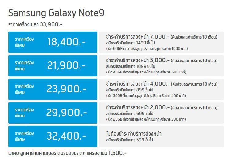 โปร Galaxy Note 9 จาก dtac