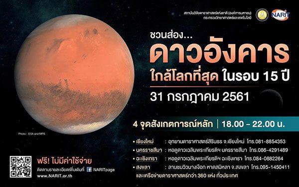 ดาวอังคารจะเข้าใกล้โลกมากที่สุด