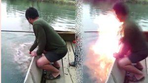แตกตื่น! ชาวบ้านพบบ่อน้ำผุดติดไฟ ขณะออกหาปลา(คลิป)