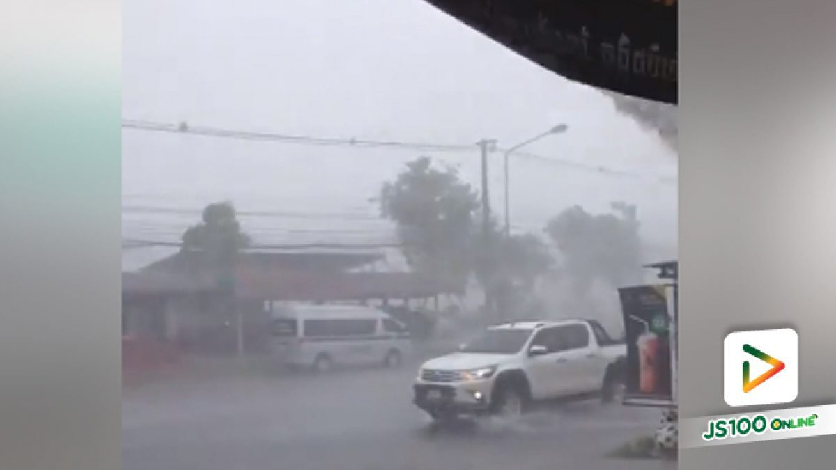 ถล่มยับ !! พายุฝนถล่มย่านการค้าหน้า ที่ว่าการอำเภอกาบเชิง จ.สุรินทร์ เสียหายหนัก 20 หลัง (10-05-61)