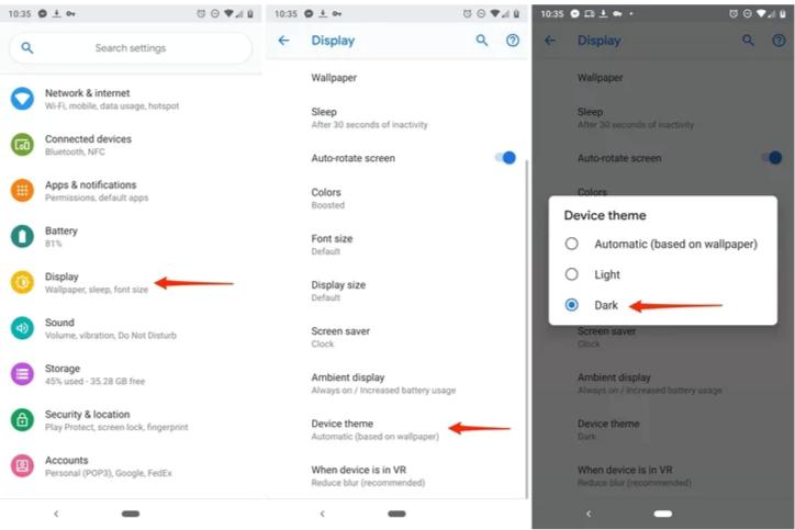 วิธีการเปิดใช้งาน Dark Mode บน Android Pie