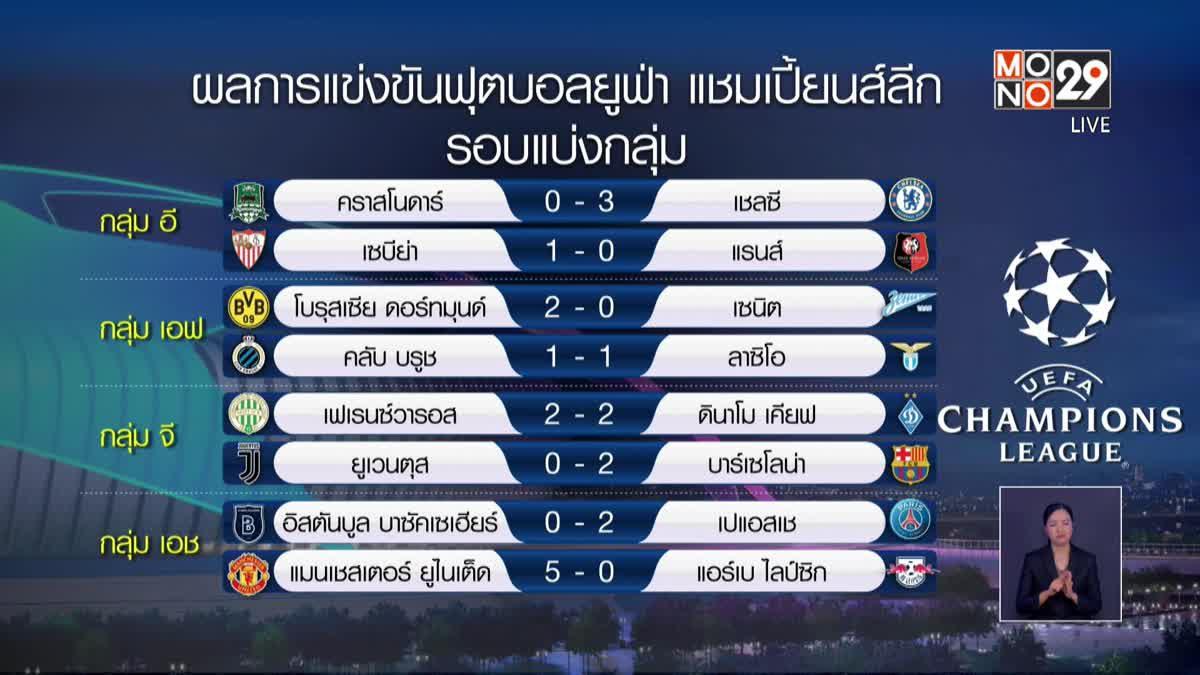 ผลการแข่งขันฟุตบอลยูฟ่า แชมเปี้ยนส์ลีก 29-10-63