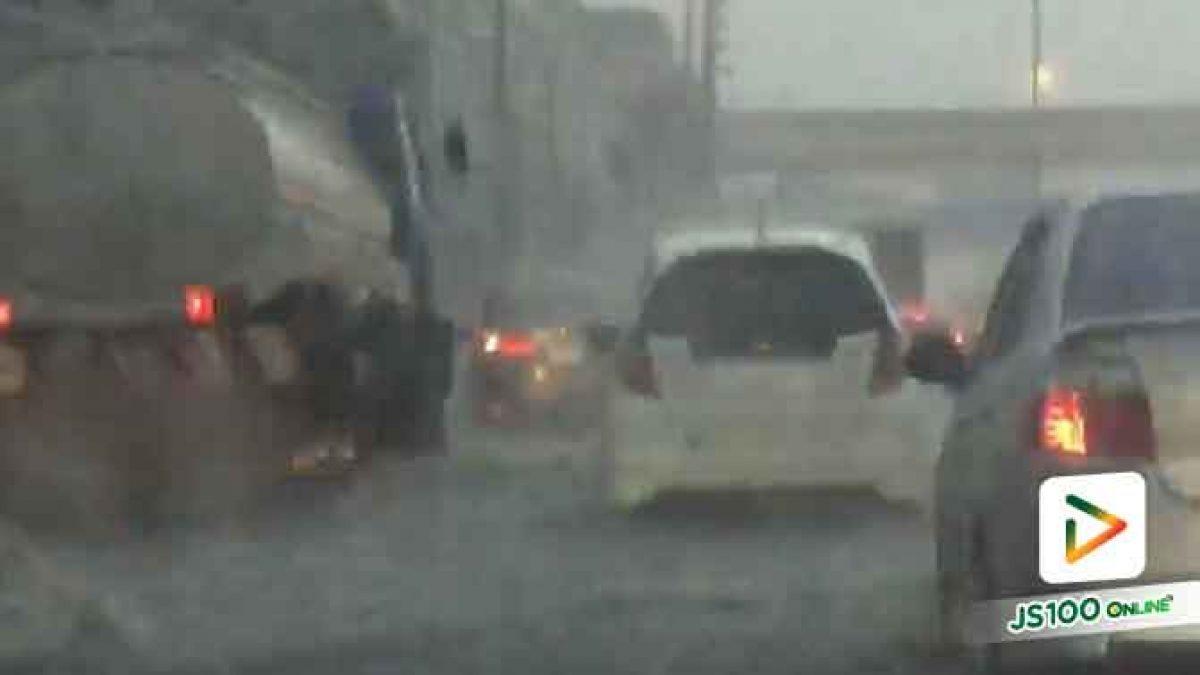 คลิปฝนตกหนักน้ำท่วม ถนนสุขุมวิท จากสำโรงมุ่งหน้าเข้าปากน้ำ รถเล็กหลีกเลี่ยงเส้นทาง (15-06-61)