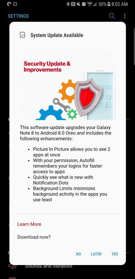 Samsung Galaxy Note 8 เริ่มอัพเดต Android Oreo ได้แล้วพร้อมฟีเจอร์ใหม่