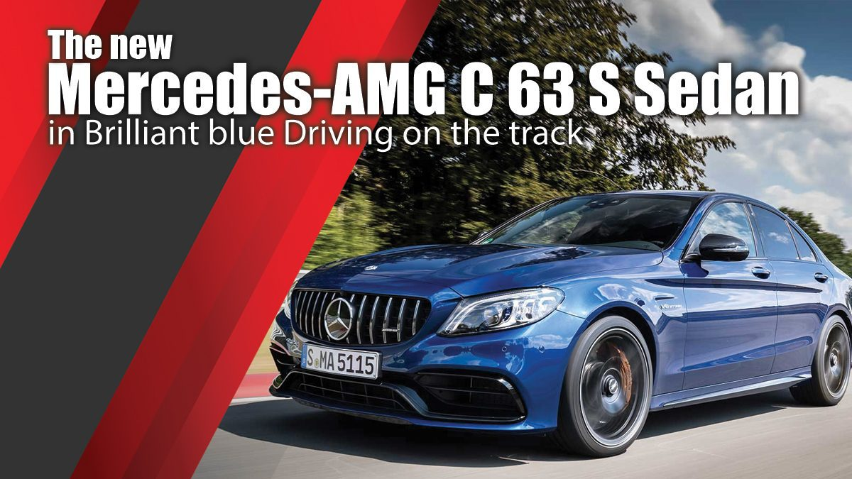 The new Mercedes-AMG C 63 S Sedan in Brilliant blue Driving on the track