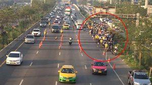 คนบ่นอุบ!  ตำรวจตั้งด่านแต่เช้า บนถนนพระราม 2 ทำรถติดยาวหลายกิโลเมตร