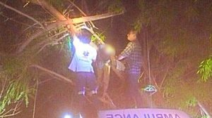 อย่างหลอน!! ภาพศพหญิงติดต้นกระถิน คาดถูกกิ่งทับคอหักตาย