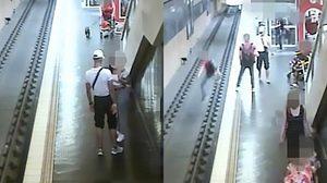 คนหัวร้อน 2018!! หนุ่มขี้โมโหทะเลาะกับแฟน พาลไปพลักคนอื่นจนตกลงไปในราง รถไฟใต้ดิน