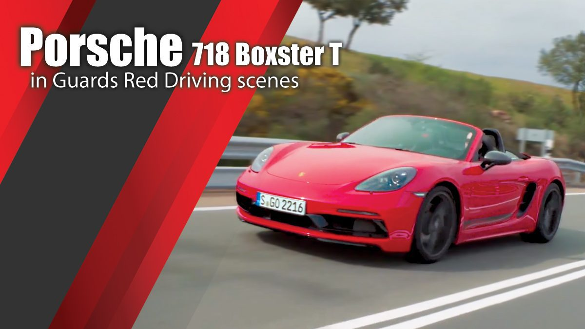 Porsche 718 Boxster T in Guards Red Driving scenes