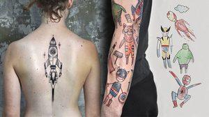 น่าลอง! รอยสักสุดแนวจินตนาการจากลายเส้นของเด็กน้อย ฝีมือศิลปินสาวสุดคัลท์ Miriam Frank