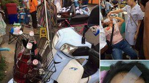 อุทาหรณ์! สาววางน้ำอัดลมหน้ารถจยย. ก่อนขับขวดเขย่าระเบิดใส่หน้าเลือดอาบ