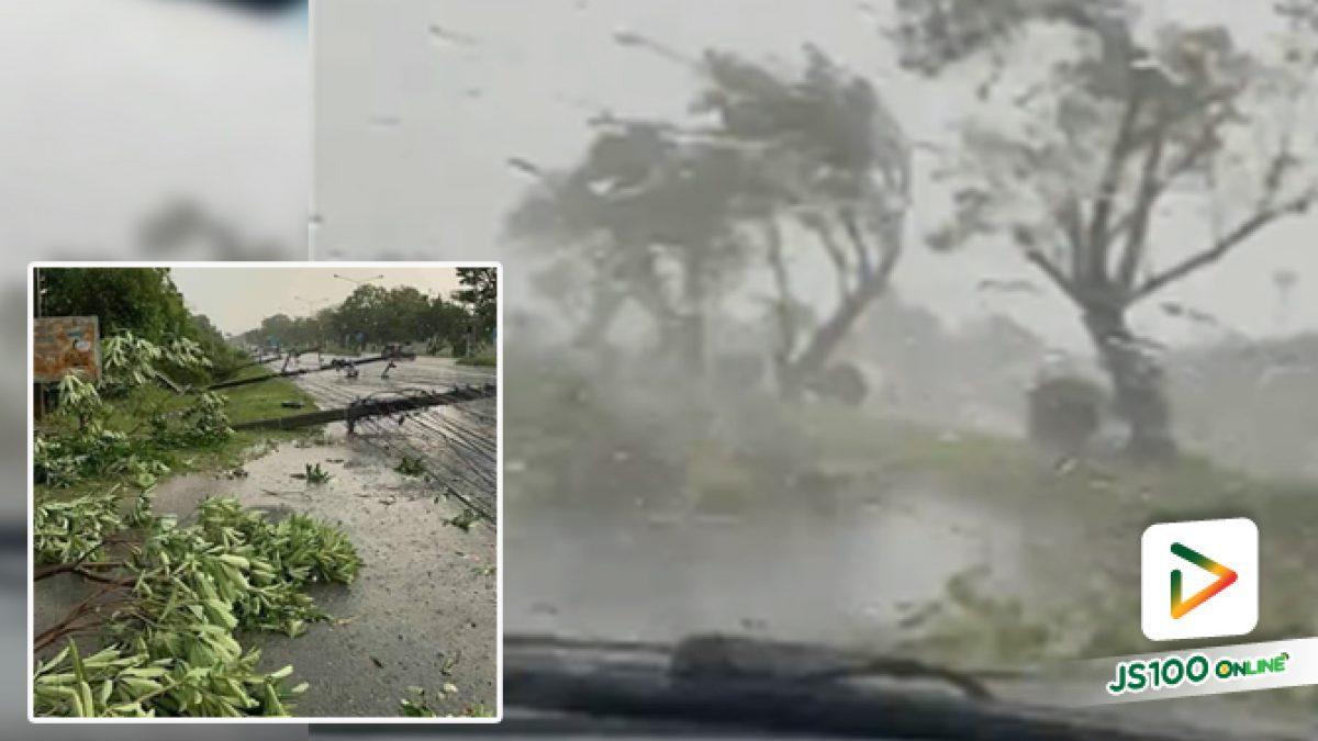 ฝนถล่มขณะขับรถ ต้นไม้ + เสาไฟฟ้าหักโค่น หวิดเอาชีวิตไม่รอด
