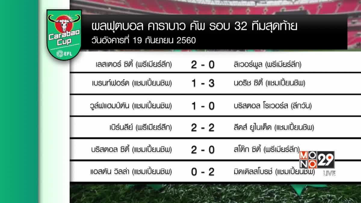 ผลฟุตบอลคาราบาว รอบ 32 ทีมสุดท้าย
