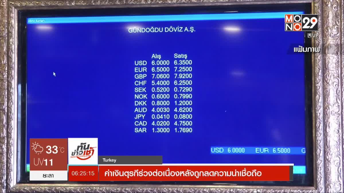 ค่าเงินตุรกีร่วงต่อเนื่องหลังถูกลดความน่าเชื่อถือ