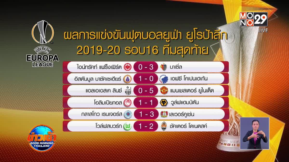 ผลการแข่งขันฟุตบอลยูฟ่า ยูโรป้าลีก รอบ 16 ทีมสุดท้าย 13-03-63