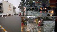 พายุฝนตกกระหน่ำ รามคำแหงหัวหมาก น้ำท่วมขังการจราจรติดขัด