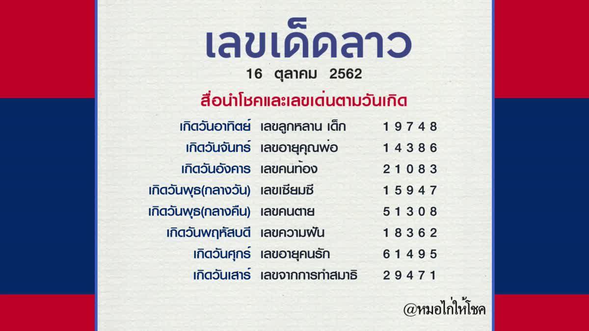 หวยลาว 16 ตุลาคม 2562 หมอไก่ให้โชค รอบนี้ขอถูกทั้งไทย รวยทั้งลาว