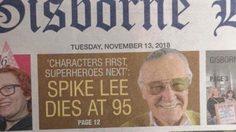 จาก สแตน ลี เป็น สไปก์ ลี!! หนังสือพิมพ์ในนิวซีแลนด์ระบุชื่อตำนานแห่งมาร์เวลผิด