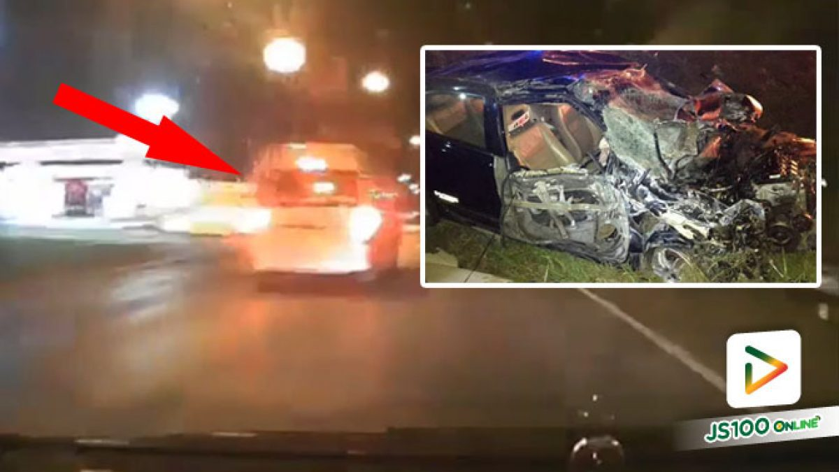 เก๋งซิ่งหักหลบรถตู้ ก่อนเสียหลักพุ่งชนปิคอัพจอดข้างทาง เสียชีวิต 2 คน สาหัส 1 คน (30/11/2020)