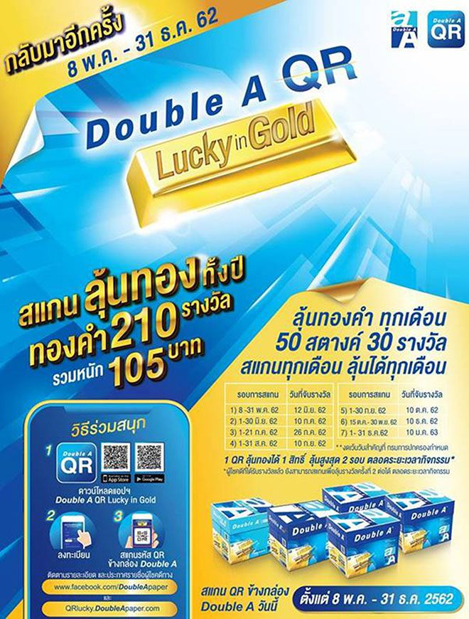Double A QR Lucky in Gold รอบใหม่มาแล้ว สแกนลุ้นทองทั้งปี จับแจกทุกเดือน รวมกว่า 200 รางวัล