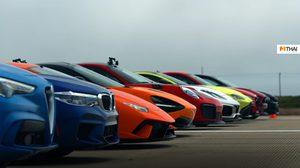 ชมที่สุดงานแข่ง Drag ของโลก รถ Supercar 12 คัน ที่มีขุมพลังรวมกันถึง 6000 แรงม้า
