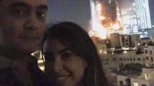 เหมาะสมหรือไม่ ? คู่รักเซลฟี่หวาน กับฉากหลังขณะไฟไหม้ตึกในดูไบ