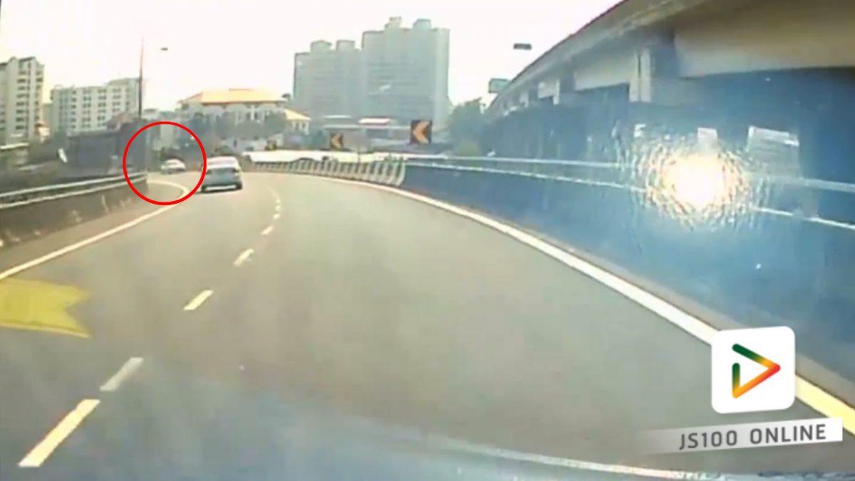 รถขึ้นย้อนศรบนทางด่วน สุดอันตราย!! (08-02-61)