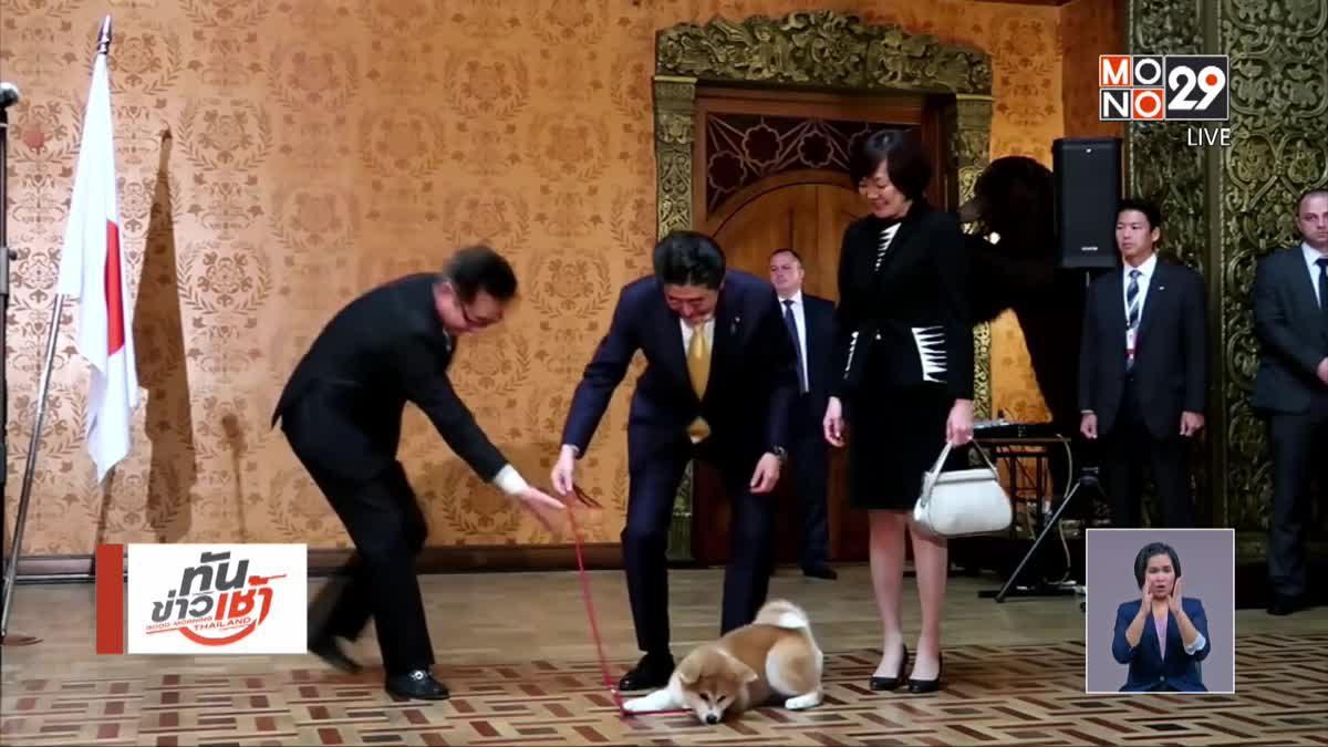 นายกฯ ญี่ปุ่นร่วมมอบสุนัขอะกิตะแก่นักกีฬารัสเซีย