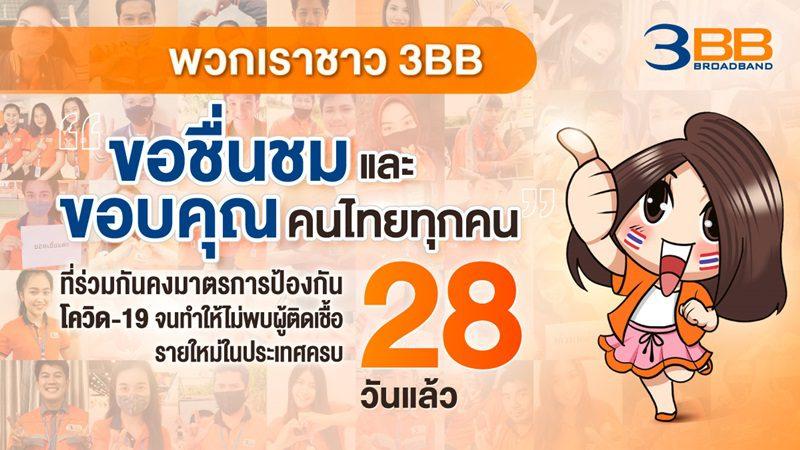 ทีม 3BB ทั่วไทยส่งคำขอบคุณคนไทยทุกคนที่ร่วมกันคงมาตรการป้องกันโควิด-19 ทำให้ไม่พบผู้ติดเชื้อรายใหม่ในประเทศครบ 28 วันติดต่อกันในวันนี้