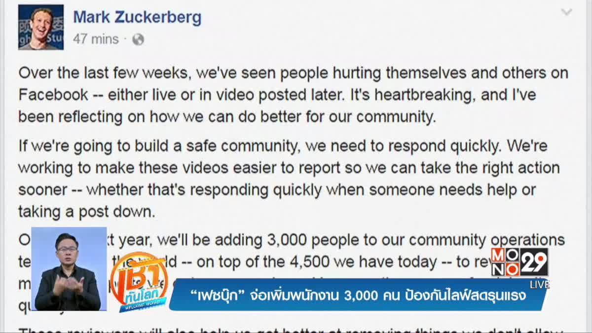 """""""เฟซบุ๊ก"""" จ่อเพิ่มพนักงาน 3,000 คน ป้องกันไลฟ์สดรุนแรง"""