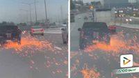 พ่อค้ายาเสพติดซิ่งปิคอัพหนีจนท.ตำรวจ ชนขอบทางยางแตกสะเก็ดไฟเต็มถนน สุดท้ายไม่รอด