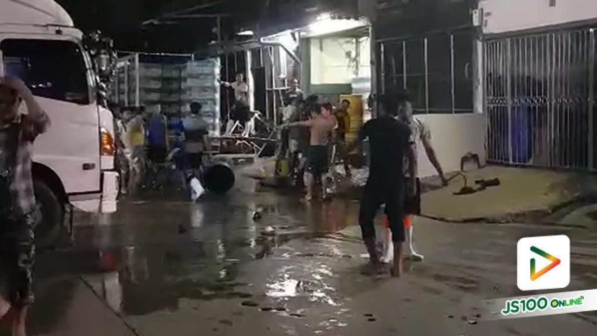 เปิดประตูอาเซียน! คนงานพม่าร่วม 30 คน ซัดกันนัว ตาย1 เจ็บ1 ภายในซ.ปรีดีพนมยงค์ 44