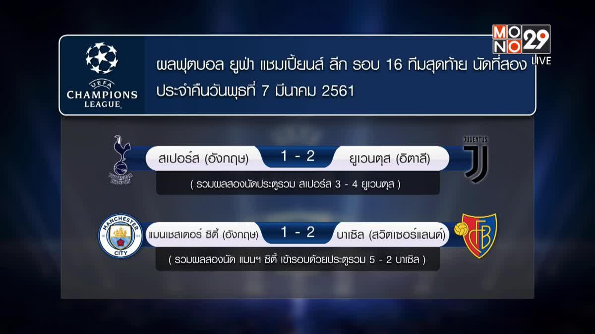 ผลยูฟ่า แชมเปี้ยนส์ ลีก รอบ 16 ทีม นัดที่สอง