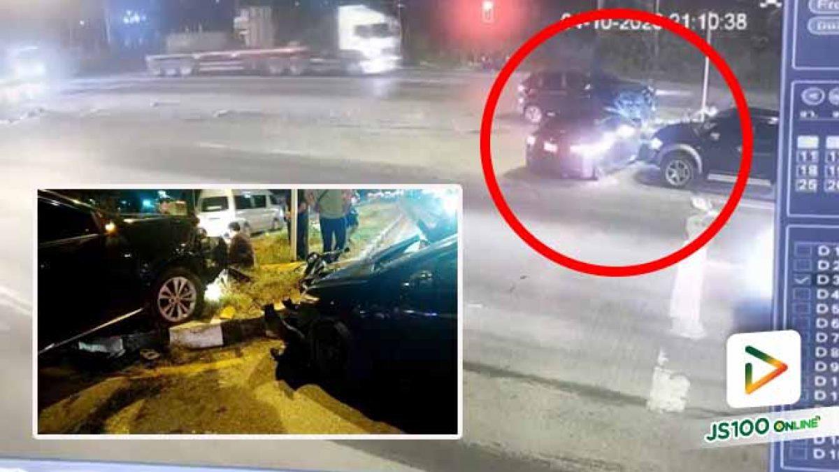 รองเท้าติดแป้นเบรค! รถ SUV ซิ่งแฉลบขึ้นเกาะกลางพุ่งชนเก๋งและจยย. คนซ้อนสาหัสต้องตัดขา