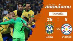 สถิติหลังเกม : บราซิล vs ปารากวัย (28 มิ.ย. 62)